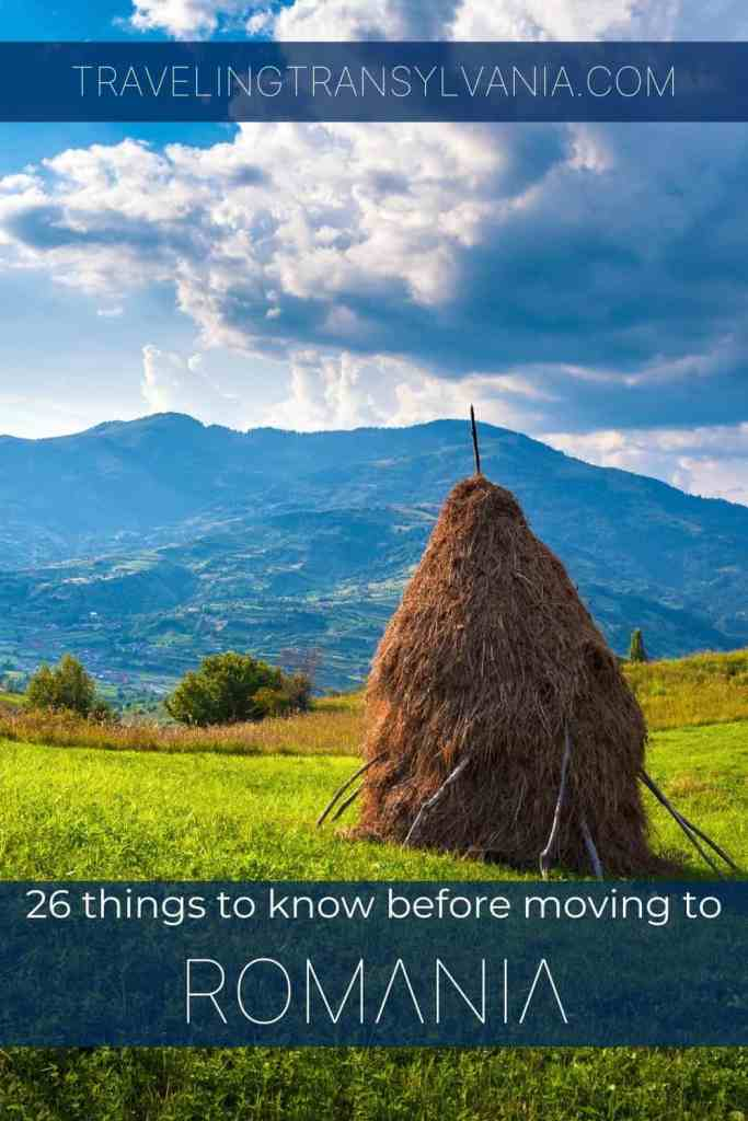 Pinterest graphic - 26 things to know before moving to Romania