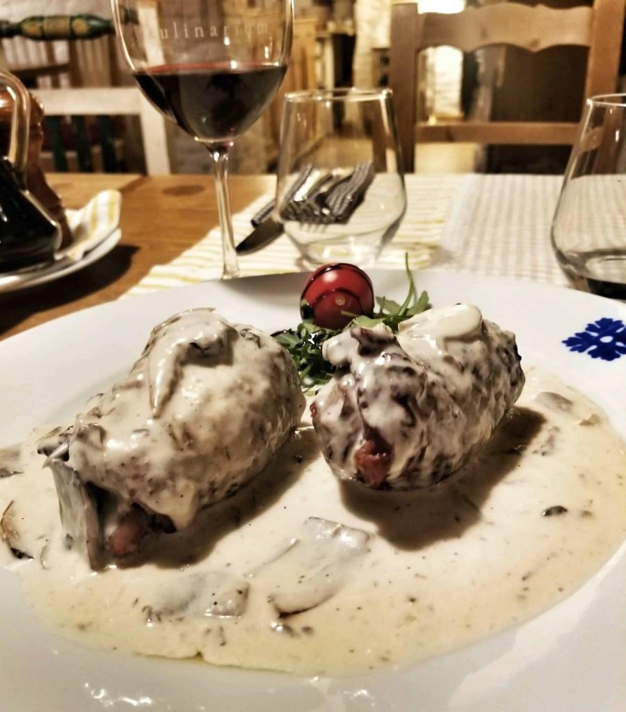 where to eat in sibiu - kulinarium pork roulade with mushrooms and cream sauce