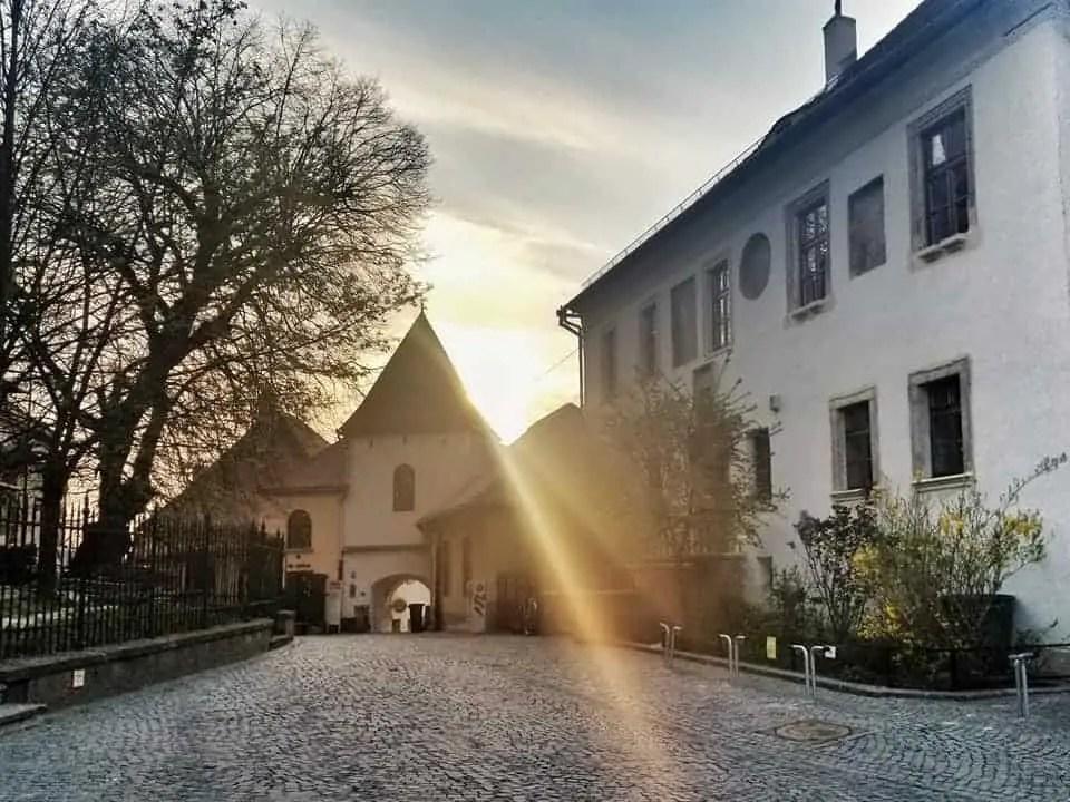 Piata Huet during sunset in Sibiu, Romania