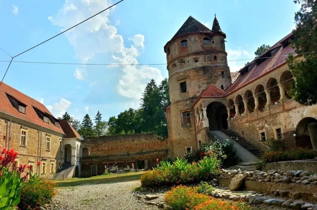 Courtyard of Cris-Bethlen Castle in Transylvania, Romania.