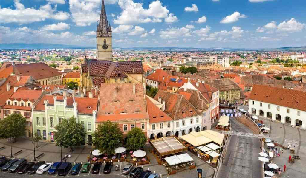Views of Piata Mica in Sibiu from Council Tower.