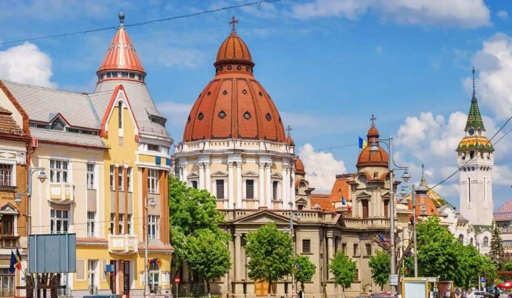 Colorful buildings of Targu Mures, Romania during springtime.