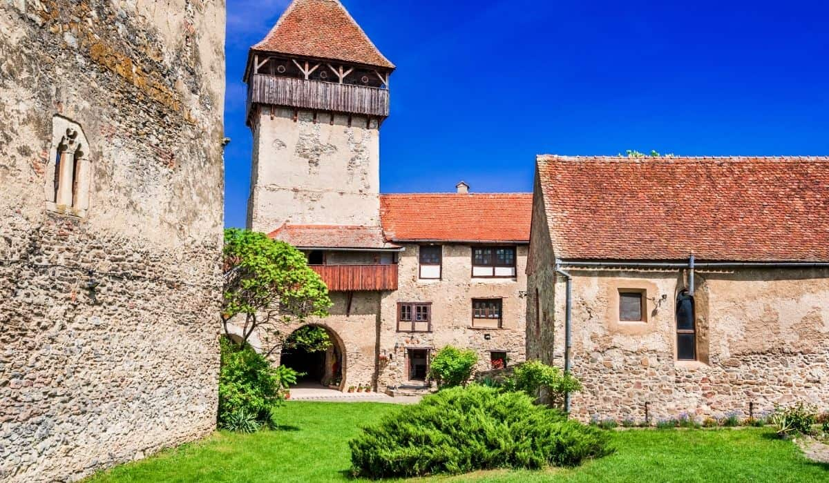 Calnic fortified church in Transylvania seen from the inner courtyard.