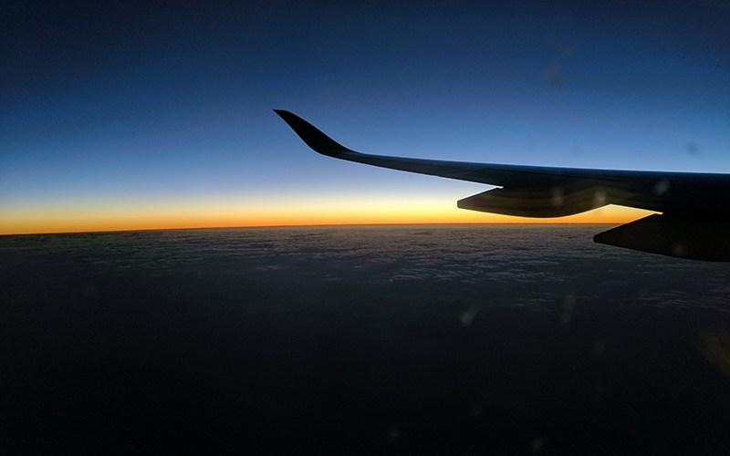 Sunrise from a Qatar Airways window seat