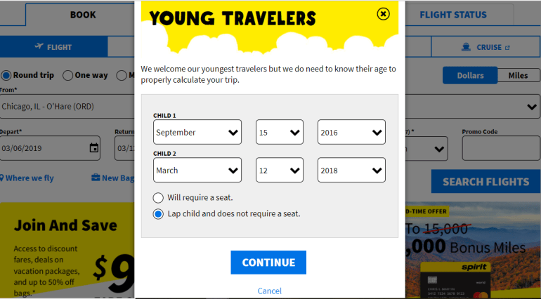 Spirit Airlines Booking Screen for Children