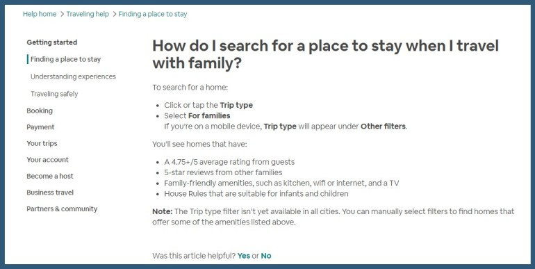 Airbnb-how do I search for a place to stay when I travel with family-screenshot