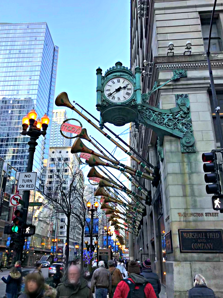 Exterior of Macy's State Street during holidays-things to do in Chicago Indoors, with Kids