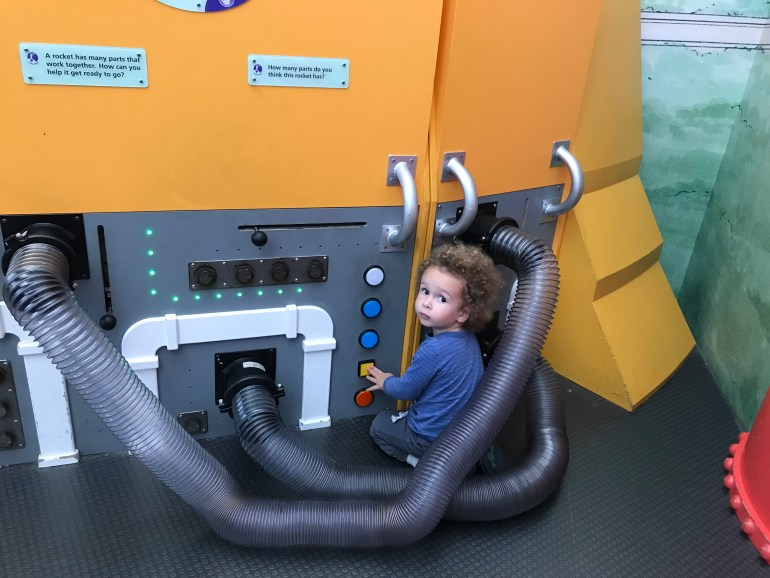 Toddler playing at the Adler Planetarium- Lego Discovery Center- things to do in Chicago Indoors, with Kids