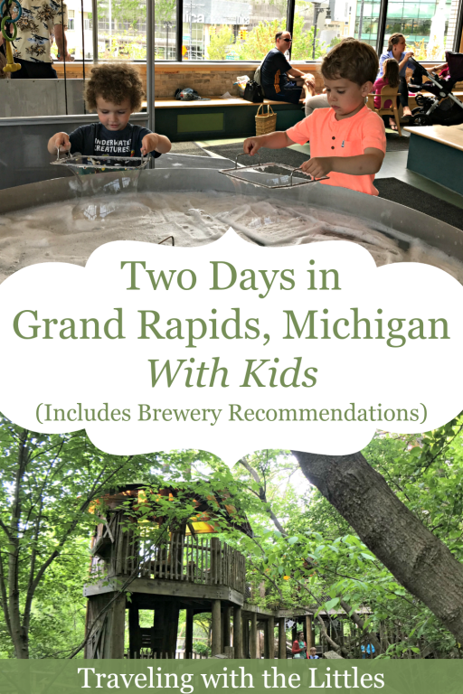 Pinterest Pin image- Grand Rapids with Kids, photos of children at the Grand Rapids Children Museum and Frederick Meijer Garden and Sculpture Park
