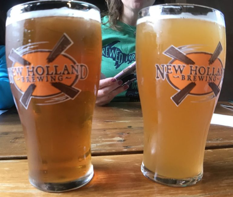 Two glasses of beer at New Holland Brewery-Grand Rapids with Kids
