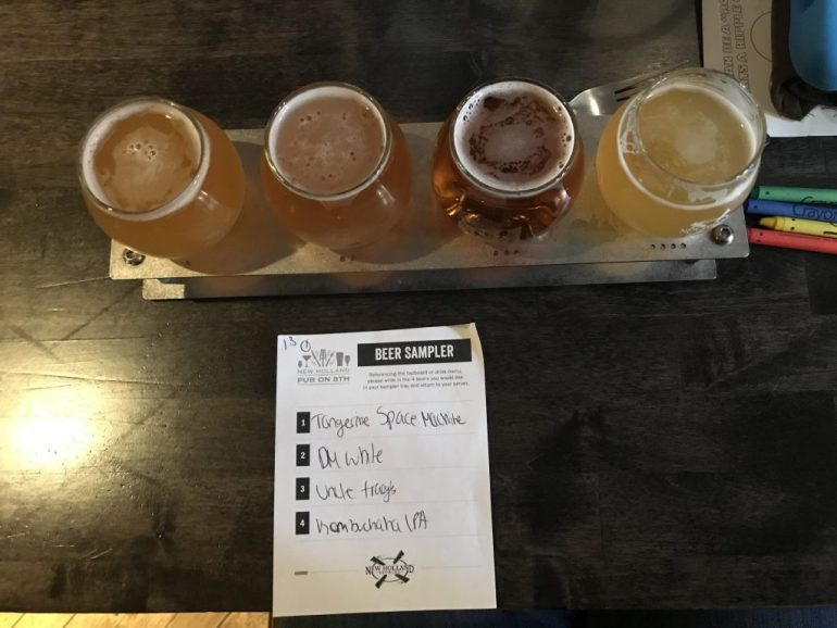 Flight of beer at New Holland Brewing in Holland Michigan