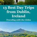 Pin image for post-best day trips from Dublin Ireland. Two photos-one of sugarloaf mountain in the Wicklow Mountains. The other of Avoca Mill in Avoca Village, Co. Wicklow.