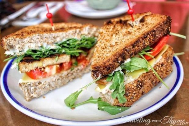 Flax and Kale Tempeh Vegan Sandwich