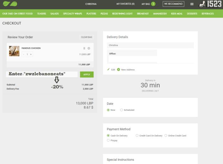 Zaatar w Zeit Online Checkout screen