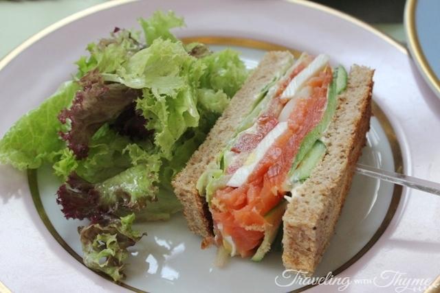 LaDuree smoked salmon club sandwich
