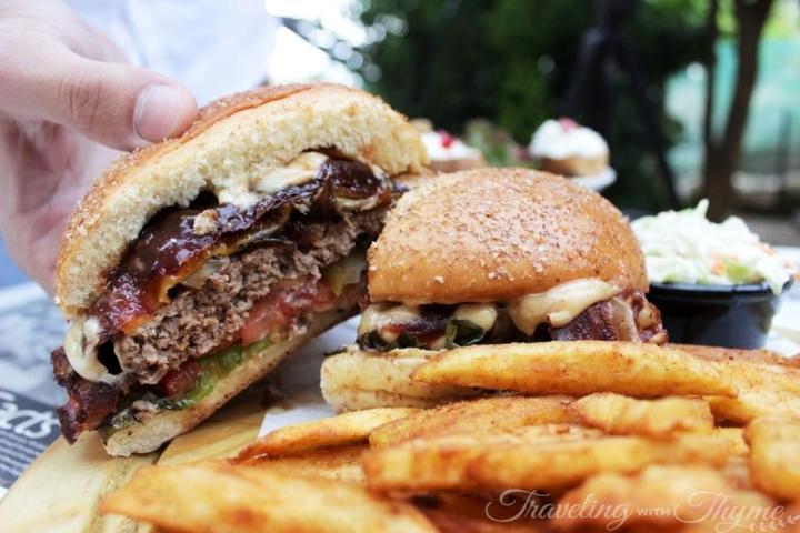 Sandwiched Diner Burger BBQ Bacon Lebanon