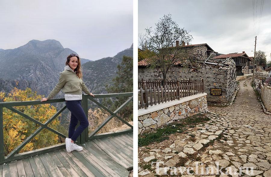 ผู้เขียนบทความในตุรกีในภูเขาในเดือนธันวาคมใกล้กับถ้ำ Altynbeshik