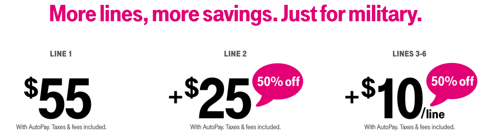 t mobile 55 for two lines