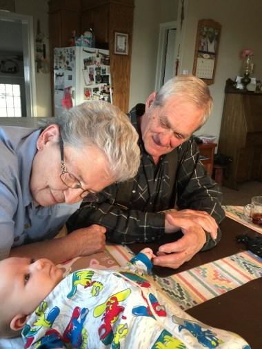 Grandma Bonnier and Granpa Bruce with Baby Ryker