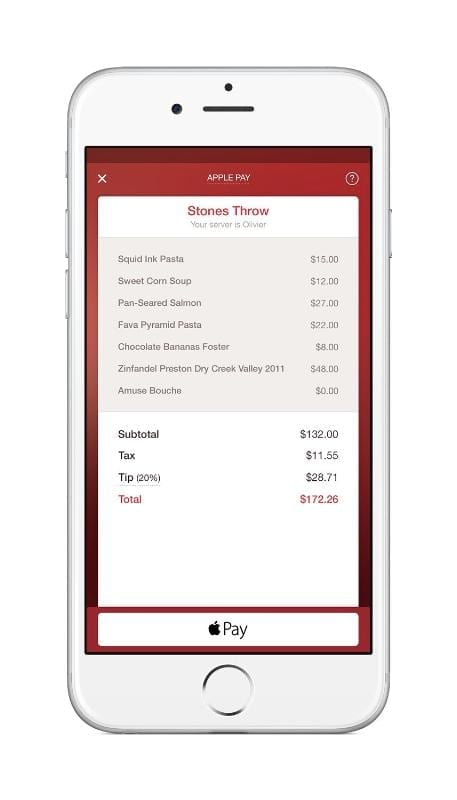 OpenTable Apple Pay