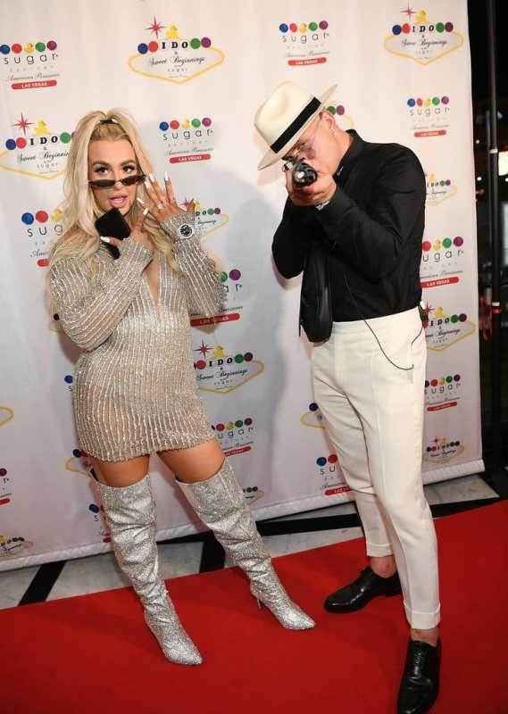 Jake Paul and Tana Mongeau have fun on the red carpet before Sugar Factory reception.