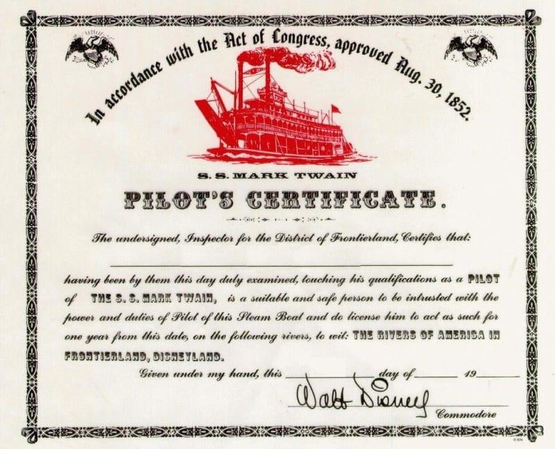 Mark Twain Riverboat Certificate