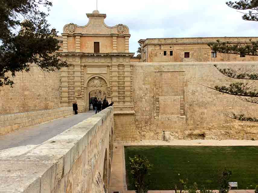 The Main Gate into Mdina, the totally charming old city off Malta; from a travl blog by www.traveljunkegirl.com