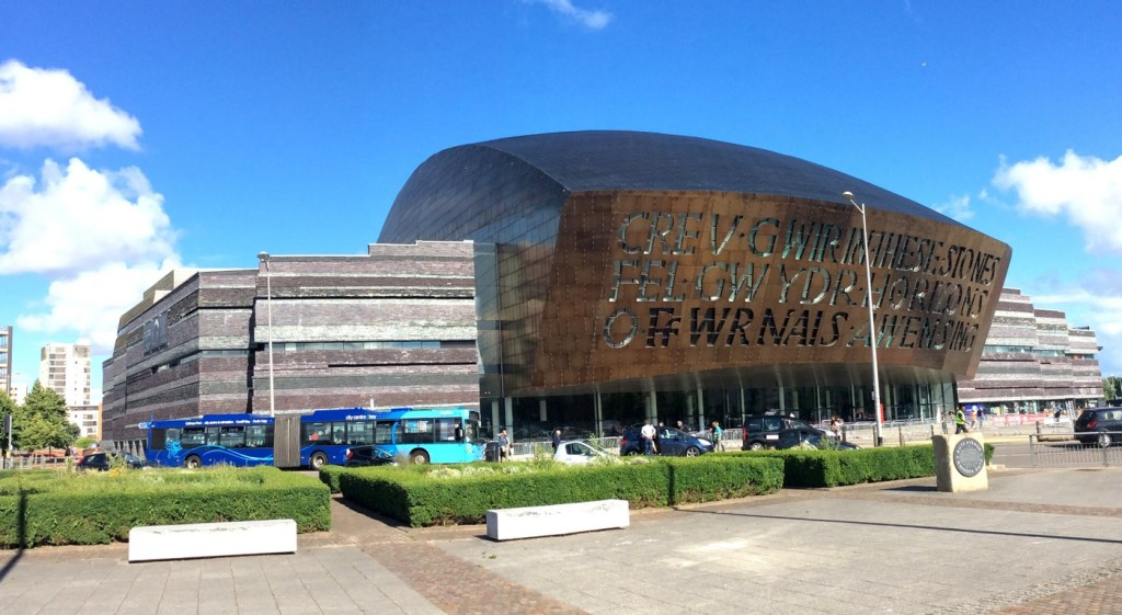 The Cardiff Millennium Centre for the Arts at Cardiff Bay; from a travel blog by www.traveljunkiegirl.com
