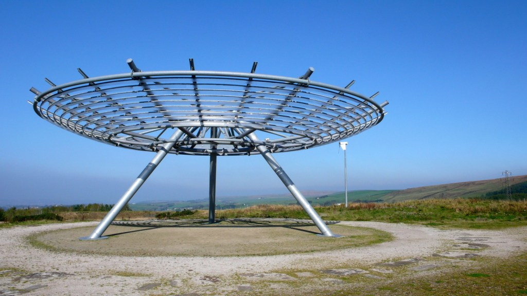 The imposing structure of The Halo sits a-top a hill in East Lancashire