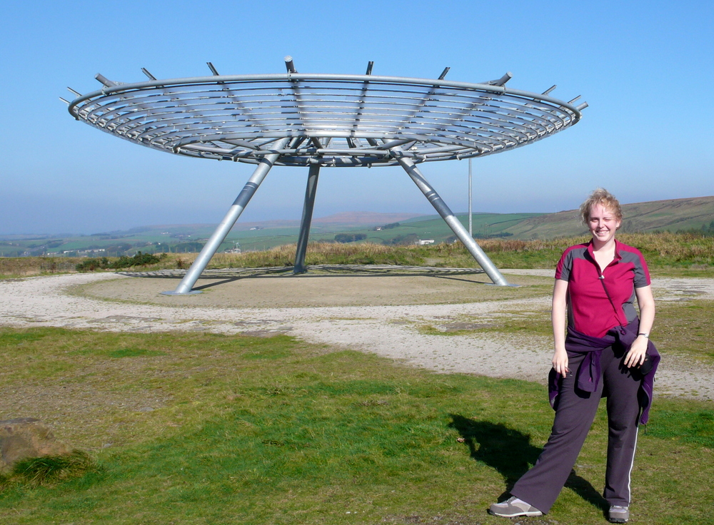 Enjoying the imposing Panopticon sculpture of The Halo, Rossendale, Lancashire