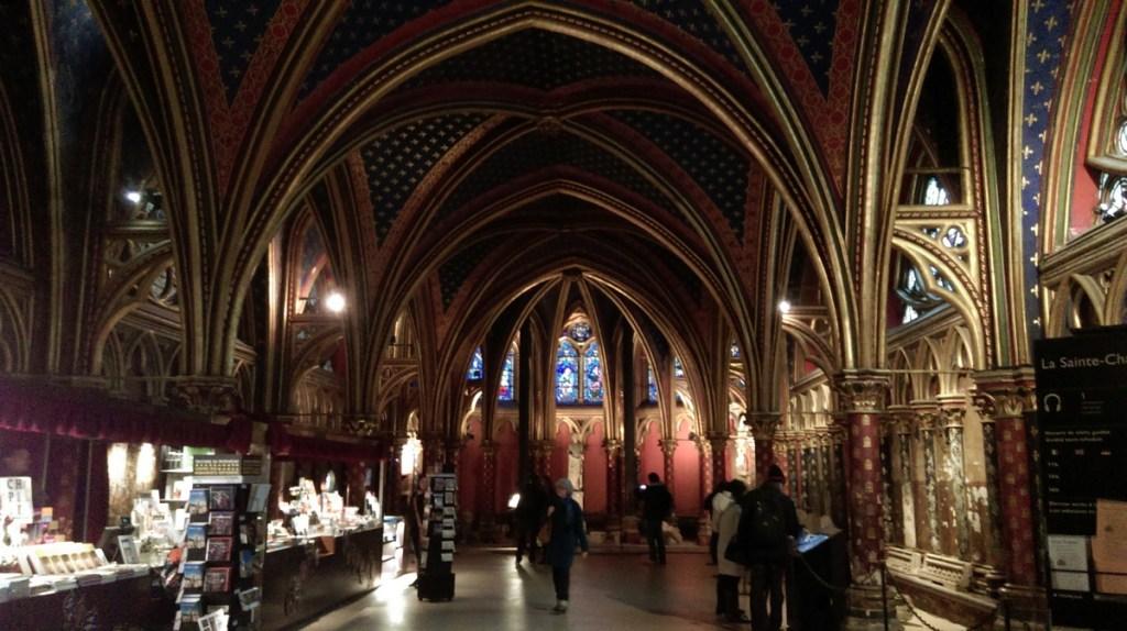 The lower chapel at Sainte-Chapelle, Paris; from a travel blog by www.traveljunkiegirl.com