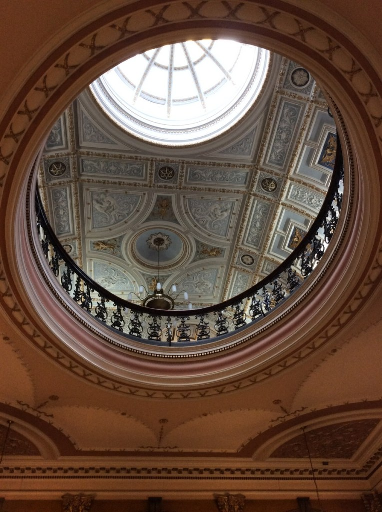 The domed ceiling of Glasgow's City Chambers; from a travel blog by www.traveljunkiegirl.com
