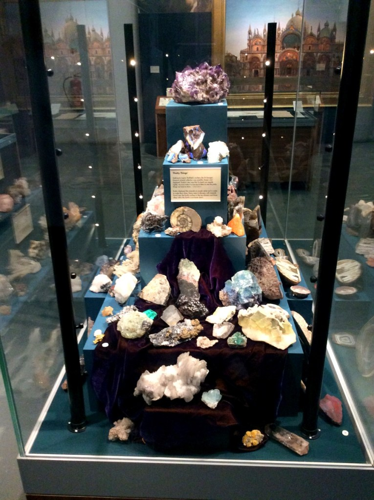 Ruskin's collection of minerals on display at the Ruskin Gallery, Millennium Galleries, Sheffield; from a travel blog by www.traveljunkiegirl.com