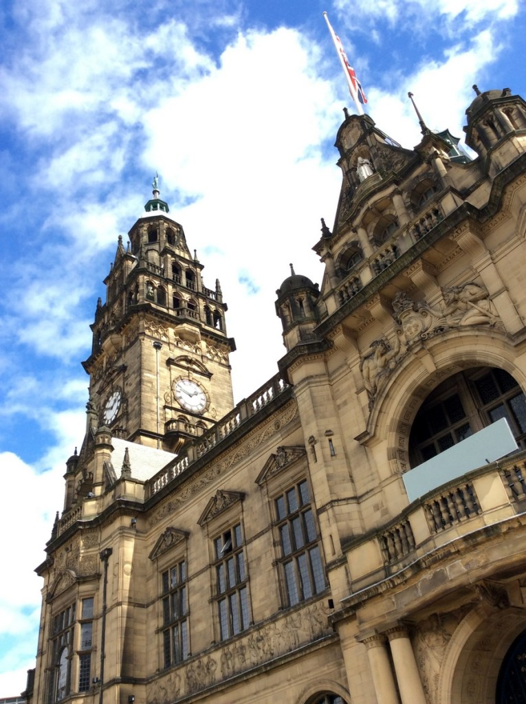 The architecture of Sheffield Town Hall, from a travel blog by www.traveljunkiegirl.com