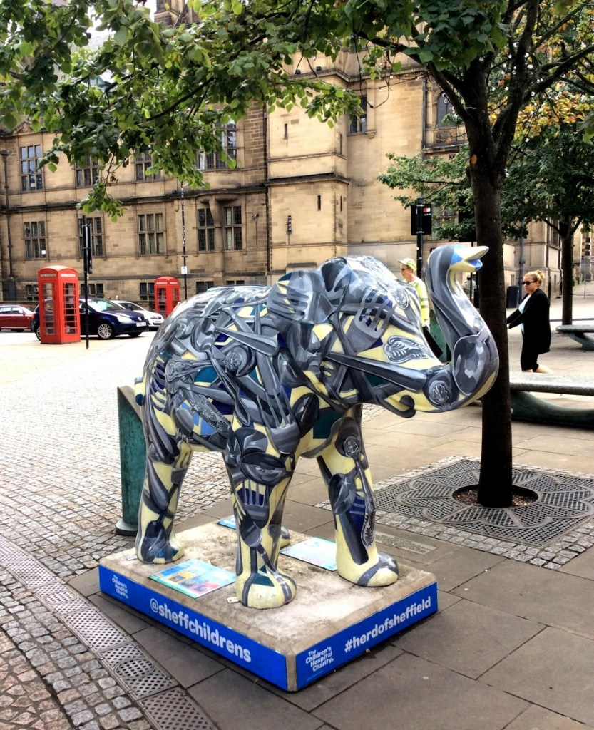 """""""An Elephant Never Forgets Where He Comes From"""" designed by Caroline Greyling, one of the elephants in the 'Herd of Sheffield' public art trail; from a travel blog by www.traveljunkiegirl.com"""