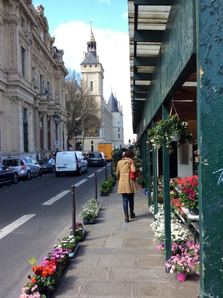 Flower stalls lining the banks of the river, Île de la Cité, Paris; from a travel blog by www.traveljunkiegirl.com