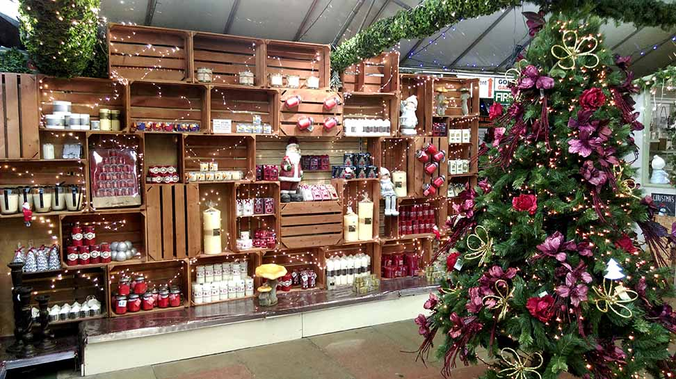 The gift section at Gordon Rigg Garden Centre, all Christmas-ified, Walsden, West Yorkshire; from a travel blog by www.traveljunkiegirl.com
