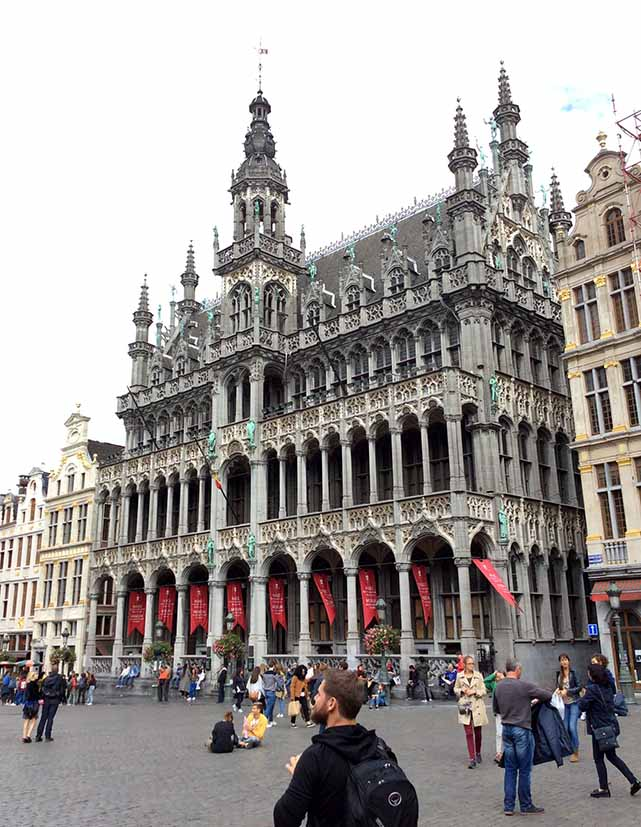 The Maison du Roi on the Grand Place in Brussels, Belgium; from a travel blog by www.traveljunkiegirl.com
