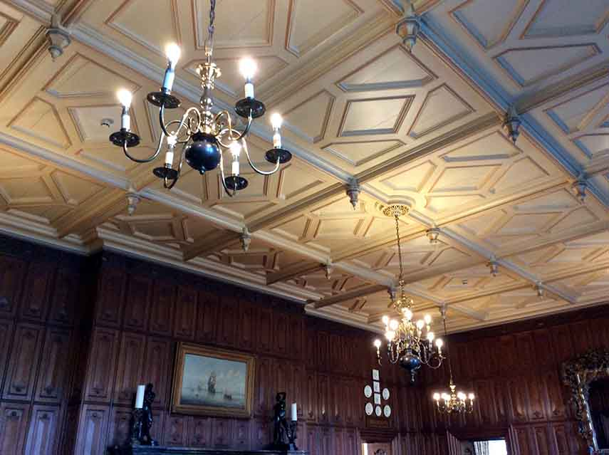 Beautiful Ceilings with Chandeliers at The Welcombe Hotel and Spa, Warwickshire; from a travel blog by www.traveljunkiegirl.com