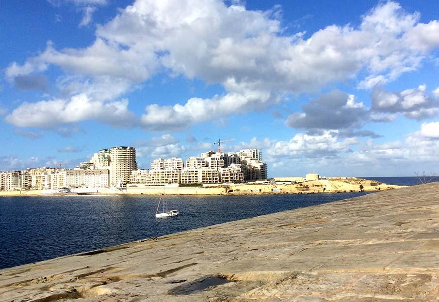 Sliema from Valletta, Malta; from a travel blog by www.traveljunkiegirl.com
