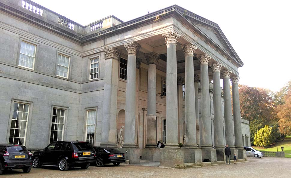 The Main Entrance to Wynyard Hall Hotel, County Durham; from a travel blog by www.traveljunkiegirl.com