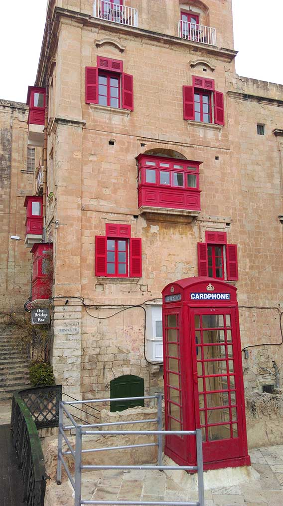 British Red Phone Box in Valletta, Malta; from a travel blog by www.traveljunkiegirl.com