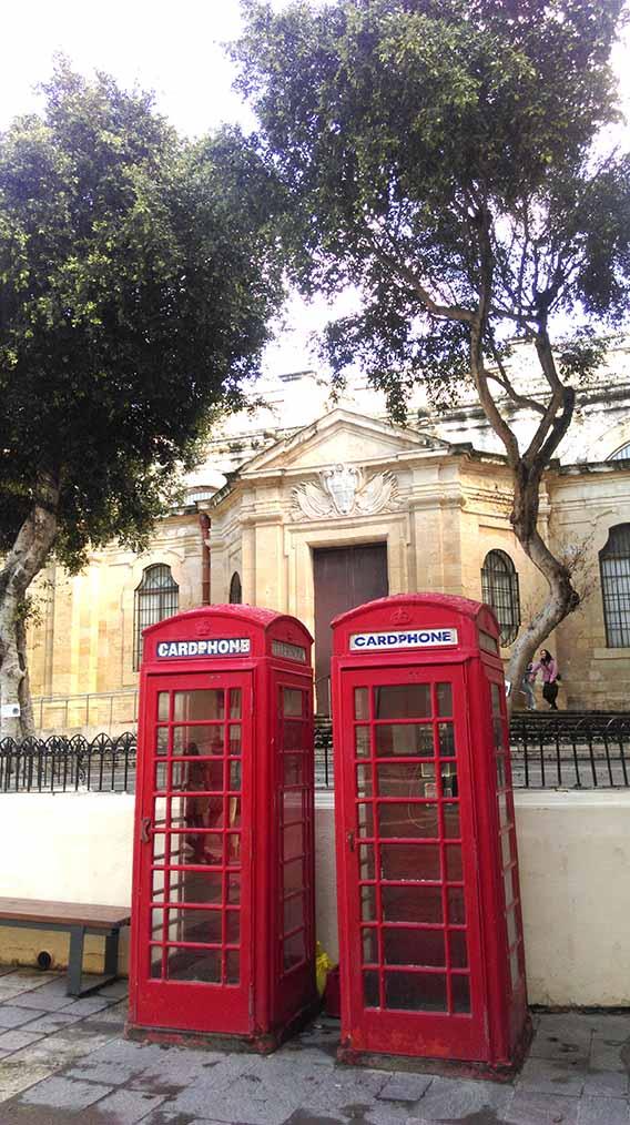 British Red Phone Boxes in Valletta, Malta; from a travel blog by www.traveljunkiegirl.com