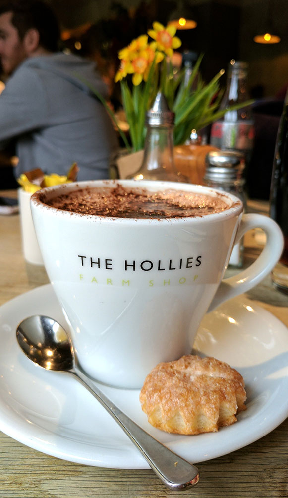 Fabulous Hot Chocolate in the Cheshire Coffee Shop at The Hollies Farm Shop, Cheshire; from a travel blog by www.traveljunkiegirl.com
