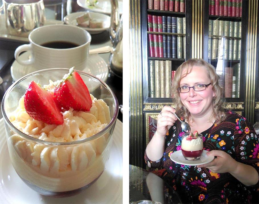 I loved the sherry trifle that was part of the Gentlemen's afternoon tea at Wynyard Hall, County Durham; from a travelblog by www.traveljunkiegirl.com