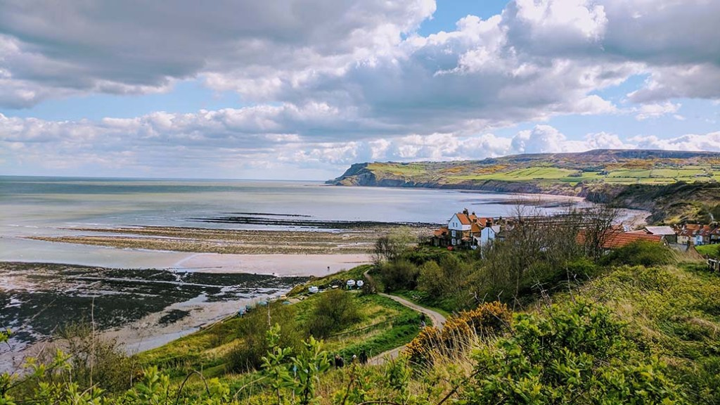 The North Yorkshire Coast at Robin Hood's Bay, England; from a travel blog by www.traveljunkiegirl.com