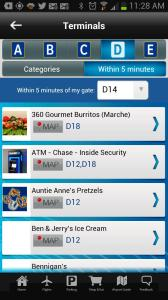 DFW Airport App's Shop & Eat tab shows you what's within five minutes of your gate.