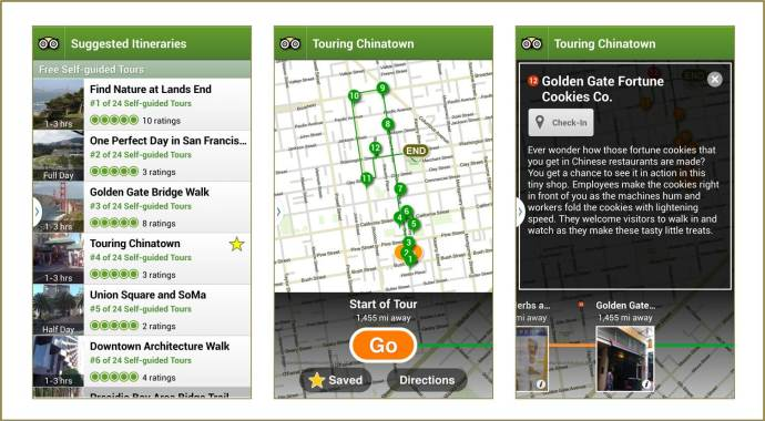 Screen captures from Trip Advisor City Guides' Suggested Itineraries