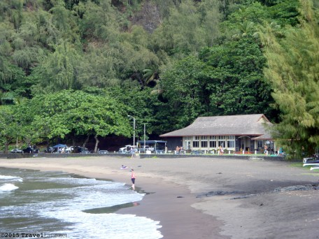The beachfront Tutu's Snack Shop is the backdrop for the wide and inviting Hana Beach.