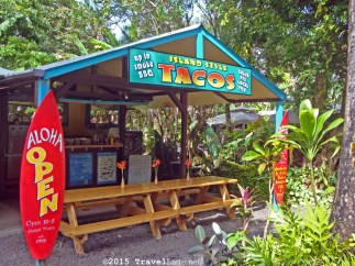 Just about halfway to Hana, tacos sure do hit the spot! Ono, cousin. There are also some fruit stands, smoothies, shave ice, and local crafts at the Nahiku Marketplace.